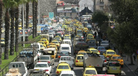 シリアの首都ダマスカスの交通渋滞