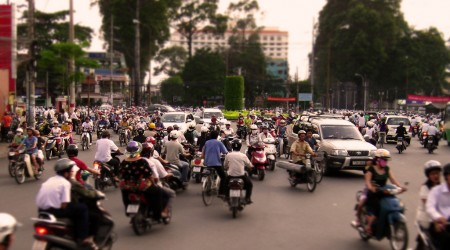 ベトナムの首都ホーチミンの交通渋滞