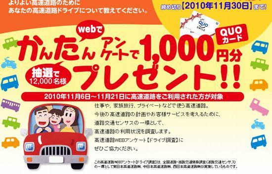 ドライブ調査でNEXCO高速道路アンケートQUOカード1,000円分プレゼント
